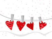 Handmade clothes in heart shapes hanging on line for Valentine D — Stock Vector