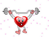 Heart in the form of funny character with the dumbbells on white — Stock Vector