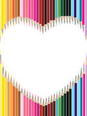 Colored pencils in heart shape on white background for Valentine — Stock Vector