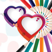 Vector illustration of a colorful heart shapes with pencil color — Stock Vector