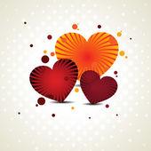 Illustrazione vettoriale di tre forme di cuore con raggi di lavoro sulla cucitura — Vettoriale Stock