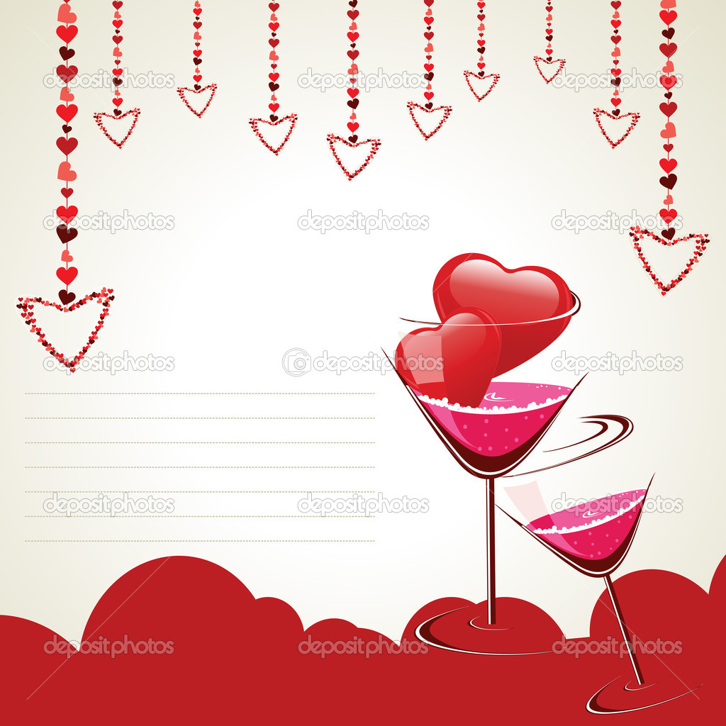 Vector illustration of a greeting card having wine glass, hanging heart shapes with copy space for Valentine Day and other occasions. — Stock Vector #8412944