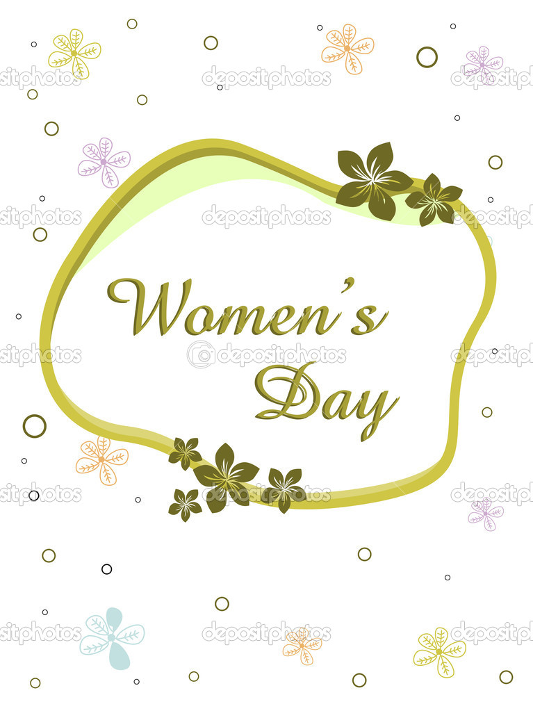 Vector illustration of a elegent greeting card with text womens day and copy space on floral background for International Womens Day  Stock Vector #8475577
