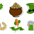 Royalty-Free Stock Vector Image: Saint Patrick\'s Day symbols vector set isolated on white.