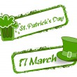 Royalty-Free Stock Vector Image: Green grunge rubber stamp with Beer mug,cap and the text St. Pat