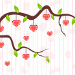 A love tree having hanging heart shapes. Vector illustration. — Imagens vectoriais em stock