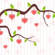A love tree having hanging heart shapes. Vector illustration. — Векторная иллюстрация
