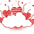 Vector illustration of a frame in cloud shape decorated with hea — 图库矢量图片