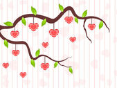 A love tree having hanging heart shapes. Vector illustration. — Stock Vector
