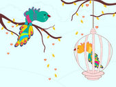 Crying birds in a cage. vector illustration. — Stock Vector