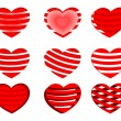 A set of decorative red  heart shapes.Vector illustration. — Stock Vector