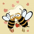 Cute bee couple holding a heartin on brown color seamless heart — Stockvectorbeeld