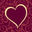 Vector pattern heart shape frame in megenta color background. — 图库矢量图片