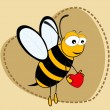 Cute bee holding a heartin on brown heart shape background. — Stock Vector