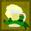 Beer mug with hats, clover and a ribbon for st. patrick's day on — Stock Vector