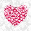 Beautiful valentines heart from roses . vector illustration. — Imagen vectorial