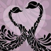 Twee zwanen versierd met bloemen. vectorillustratie. — Stockvector