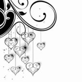 Black and White Valentine Heart shapes illustration. — Stock Vector