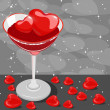 Heart wine glas fill with wine and heart ice cube on gray heart - Stock Vector