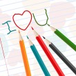 Royalty-Free Stock Vector Image: Hand-drawn i love u messages on notebook paper with colorful pen