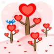 A bird sitting on the heart tree. vector. — Stock Vector