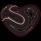 Abstract Valentines retro heart on black background — Stock Vector