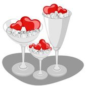Hearts in a wine glass with ice cube. Vector Illustration. — Vecteur