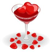 Heart wine glasses fill with wine and heart ice cube — Stock Vector
