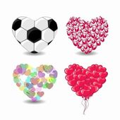 4 Hearts In Different concept, Vector Illustration — Vector de stock