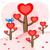 A bird sitting on the heart tree. vector. — Stock Vector