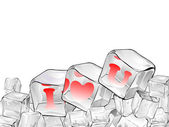 Red heart frozen in ice cube isolated on white . — Vector de stock