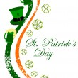 Irish flag having hat and beer mugs with shamrocks leaf for Patr - Stock Vector