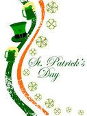 ирландский флаг, имея шляпу и пивные кружки с трилистники лист для patr — Cтоковый вектор