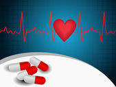 Vector heart beat abstract background wih capsules — Stock Vector