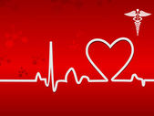 Heart beat on display on a red background — Stock Vector