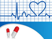 Vector Heart beat illustration with capsules — Stock Vector