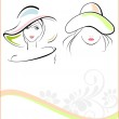 Young girls wearing hat with the text of woman — Stock Vector #8894142