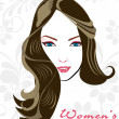 Beauitiful girl with attractive hairs on abstract background. ve - Stock Vector