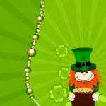 St.Patricks day card with leprechaun having gold coin — Stock Vector #9012814