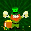 St.Patricks day card with leprechaun having beer mugs and gold — Stock Vector