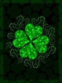 Shiny shamrocks leaf with the beautiful background for St. Patrick's D — Stock Vector