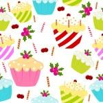 abstracte kleurrijke naadloze patroon met cookies. vector illustra — Stockvector