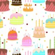 Abstract colorful seamless pattern with cake. vector illustratio — Imagens vectoriais em stock