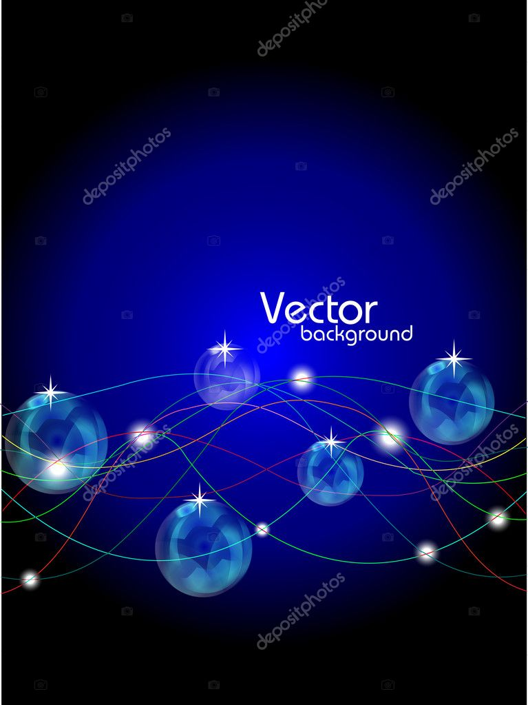 Abstract lines with shiny balls background on blue.vectorfor more similar abstract,  please visit in my gallery. — Stock Vector #9123187