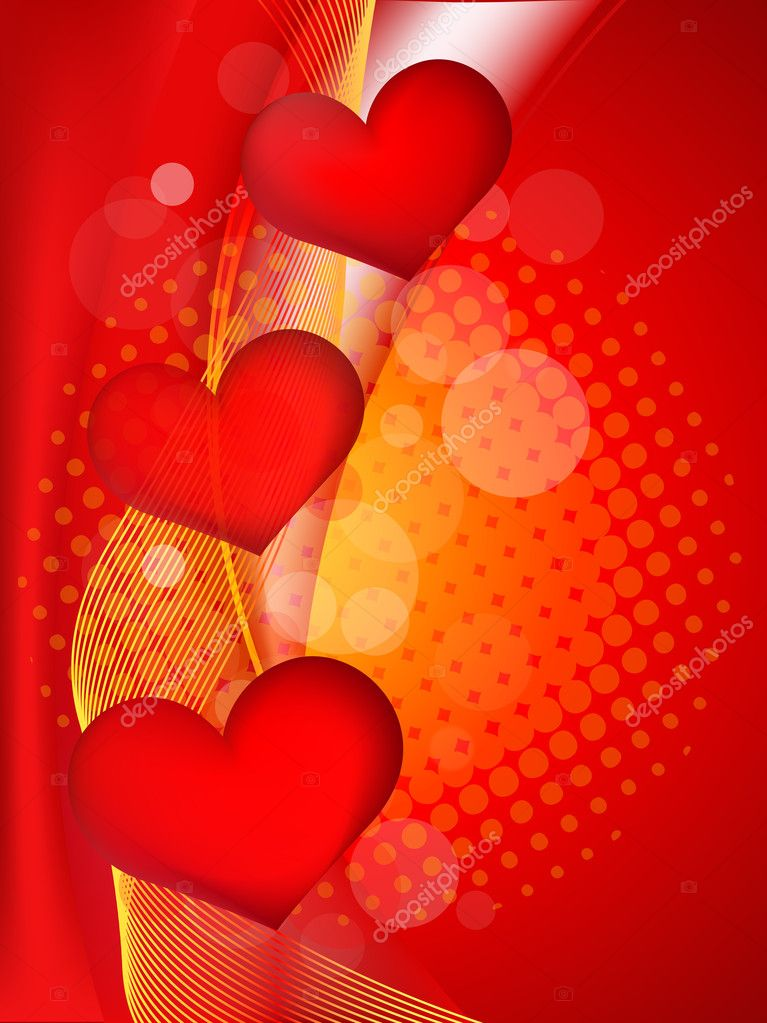 Abstract heart with wave background illustration in red. for more similar abstract,  please visit in my gallery. — Stock Vector #9123215