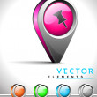 Internet web 2.0 icon with thumbtack symbol. — Imagen vectorial