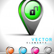 Internet web 2.0 icon with unlock symbol. — Imagen vectorial