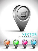 Internet web 2.0 pictogram met het winkelen kar symbool. — Stockvector