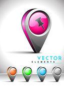 Internet web 2.0 icon with thumbtack symbol. — Stock Vector