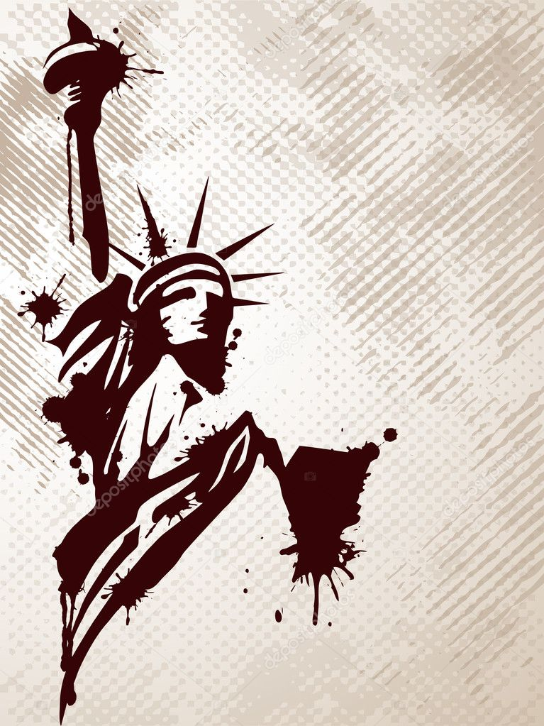 Image of the Statue of Liberty on grungy background for American day and other events.Vector illustration. — Stock Vector #9384183